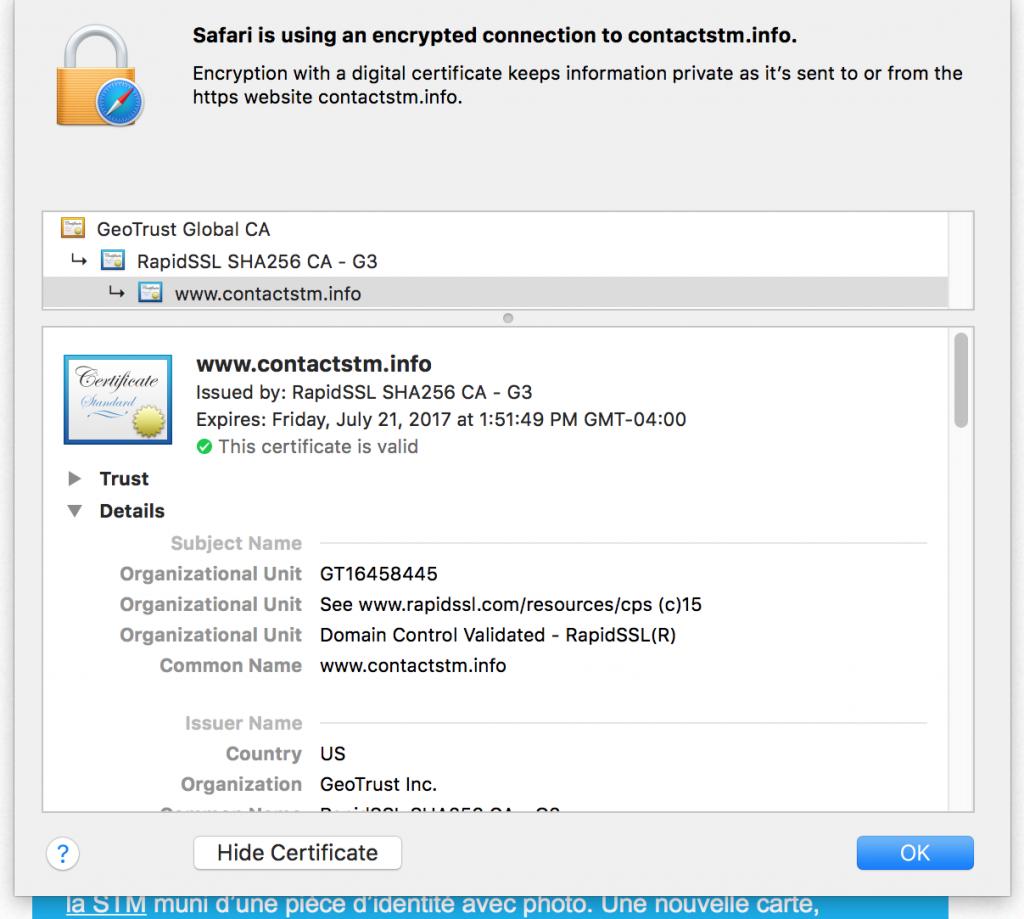 STM.info SSL certificate details